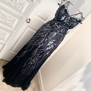FAVIANA Black Sparkle Gown Prom Formal Dress